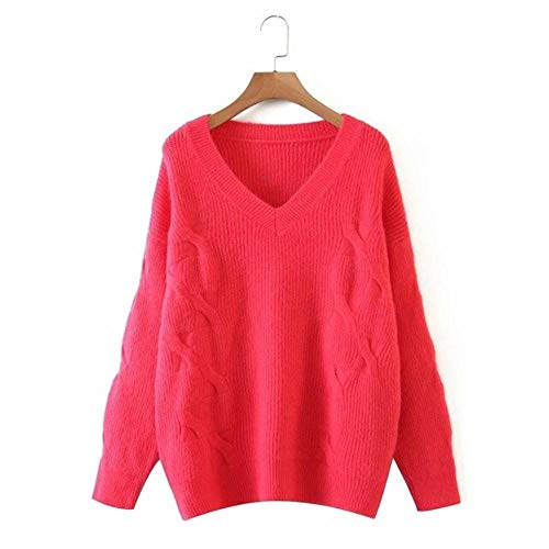 2020 New Women Knit Sweater Solid Lange Ärmel V-Ausschnitt Casual Pullover Pullover Femme Vetement Ropa Mujer, rot, One Size