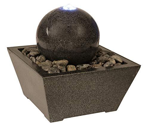 SAUERLAND Wasserspiel mit Kugel aus Granit in anthrazit inkl. Behälter, Zimmerbrunnen