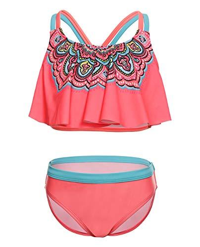 iDrawl Tankini Bikini Set Pink Blumen Bademode für Mädchen 7-9 Jahre Alte