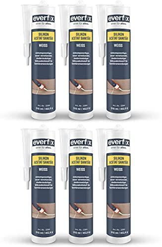 EVERFIX Acetato de silicona sanitaria de 310 ml, para baño, ducha y cocina, para sellar y sellar juntas para interior y exterior, resistente al moho, antihongos, impermeable (6), color blanco
