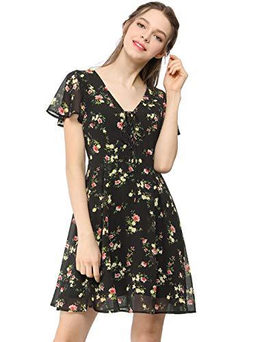 Allegra K Damen Kurzarm V Neck Volant Chiffon Blumen Minikleid Kleid Schwarzs M
