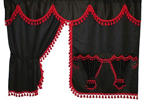 Adomo LKW Gardinen mit Bettvorhang für TGX XLX Fahrerhaus, schwarz-rote Fransen
