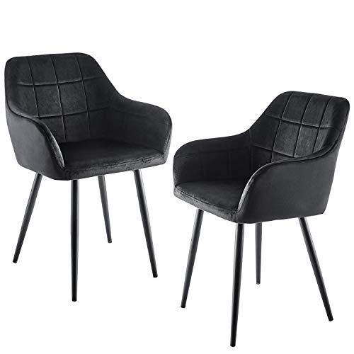 HOMTORA 2er Esszimmerstühle Sessel Küchenstühle Polsterstuhl mit Armlehne Wohnzimmerstühle mit Metallbeine Sitzfläche aus Samt Anthrazit