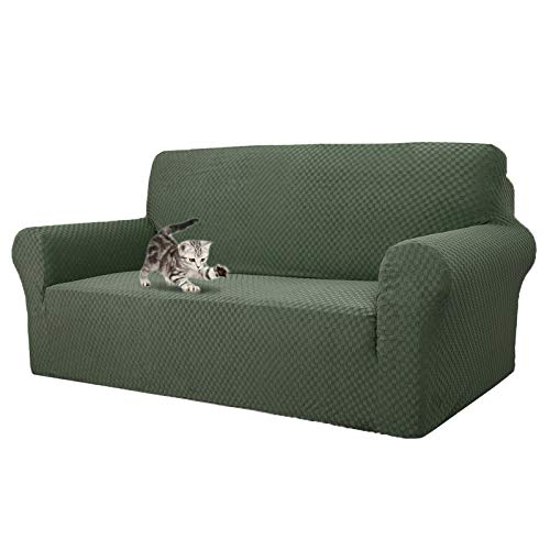MAXIJIN Newest Jacquard Sofa Covers for 3 Seater, Super Stretch Non Slip Couch Cover for Dogs Pet Friendly 1-Piece Elastic Furniture Protector Sofa Slipcovers (3 Seater, Army Green)