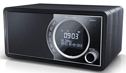 SHARP DR-450 (BK) DAB, DAB+ Digitalradio, Bluetooth, FM Radio, Alarm-/Schlaf und Snooze-Funktion, Holzoptik, Schwarz