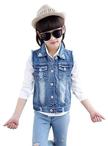 CYSTYLE Mädchen Damen Jeansweste Gewaschener Denim Weste Ärmellose Jeansjacke Beiläufige Outwear Coat kurz (160/Körpergröße 145-152 cm)