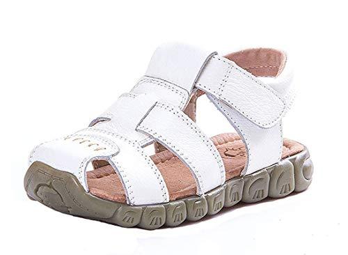 Jungen Mädchen weichem Leder Sandalen Kinder Geschlossene Sandalen Sport Outdoor Sandalen Trekkingsandalen Lauflernschuhe Klettverschluss Sommer Strand Flache Schuhe Weiß Gr.31