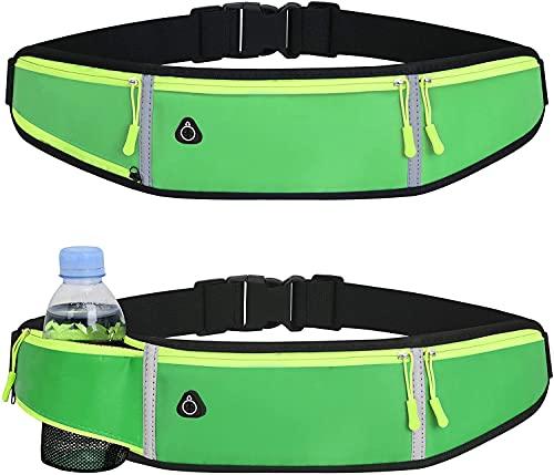 Cinturón de correr Riñonera para mujer hombre con soporte para botella de agua impermeable para correr, entrenamiento, deportes al aire libre, ciclismo, viajes, correr, cinturón de cintura (verde)