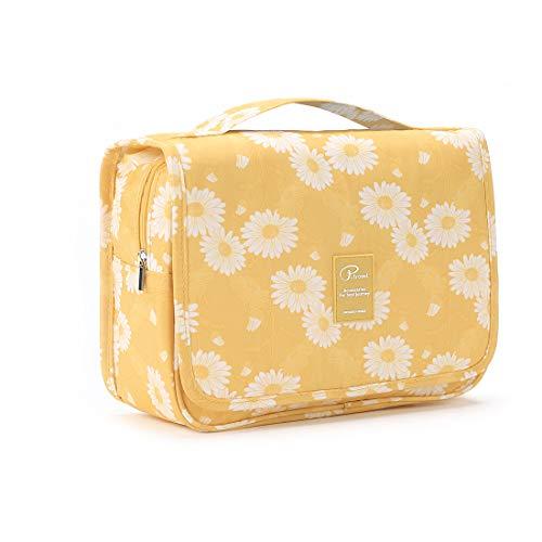 Homchen Hanging Travel Toiletry Bag, Waterproof Folding Portable Cosmetic Bag, Wash Bag for Men and Women (M, Orange)