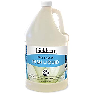 Biokleen Free & Clear Dish Liquid - 1 Gallon - Soap, Dishwashing, Eco-Friendly, Non-Toxic, Plant-Based, No Artificial Fragrance, Colors or Preservatives, Free & Clear, Unscented