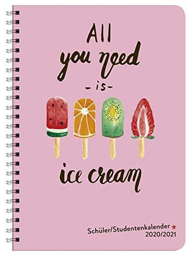 Ice Cream Schüler-/Studentenkalender A5 - 17-Monate-Taschenkalender 2021 mit Wochenkalendarium bis August 2021 - mit flexiblem Einband, Spiralbindung und Schutzumschlag - Format 15,2 x 21,5 cm