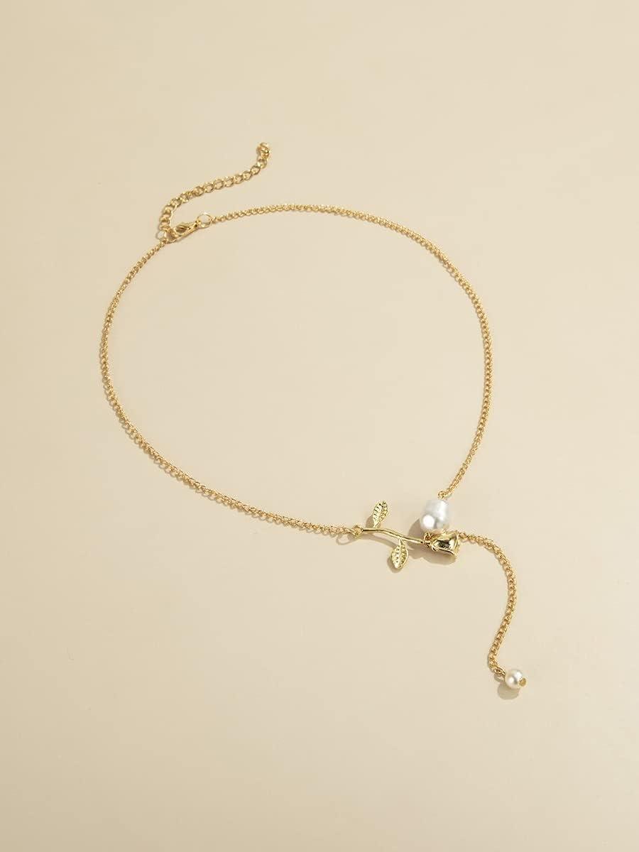 ANBF Necklace Pendant Flower Decor Y Lariat Necklace (Color : Gold)