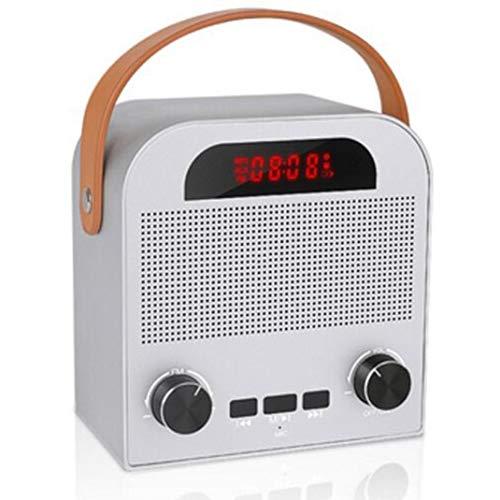 FENGCLOCK Altavoz Bluetooth Inalámbrico De Alarma Al Aire Libre del Reloj, La Voz Inteligente De Radio FM Pronta Reloj Despertador Digital De Radio Portátil, Reloj De Mesa con Manos Libres,Blanco
