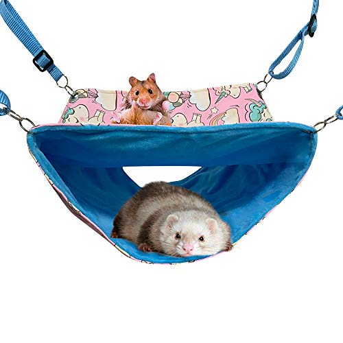 FULUE Ferret Cage Accessories Cute Guinea Pig Ferret Rat Hammock Bed Stuff Tunnel for Cage Set Supplies (Pink)