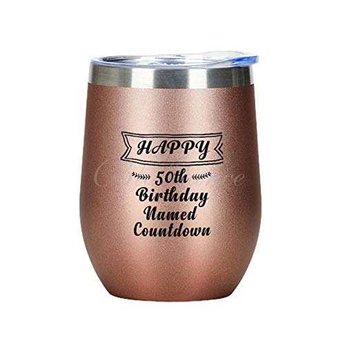 Vaso de vino aislado de 354 ml, con tapa de acero inoxidable al vacío, diseño con texto en inglés 'Happy 50th Birthday', color oro rosa