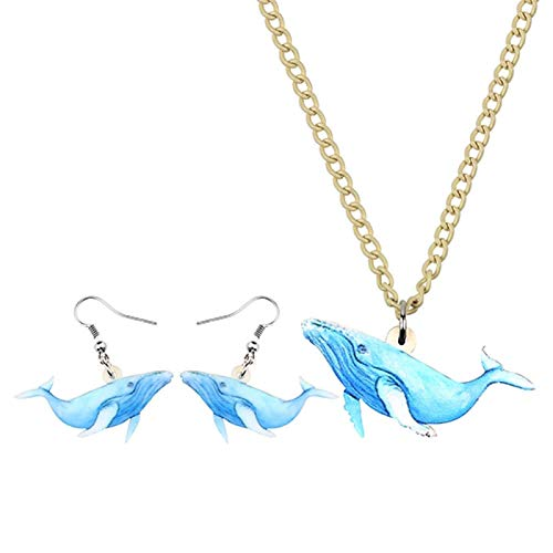 ZWwei Acrylic Jewelry Sets Sea Ocean Blue Whale Fish Necklace Earrings Anime Pendant Kids Girls Charm Party Gift Decoration (Color : A)