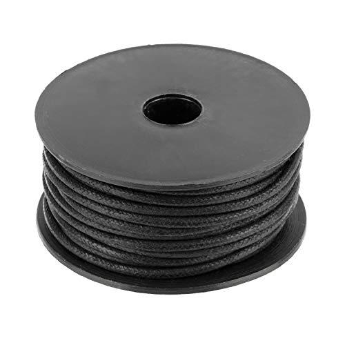 Auroris 10m Rolle Baumwollband rund 1mm Farbe: schwarz