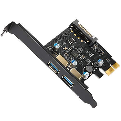 BEYIMEI Scheda di espansione a 2 Porte USB 3.0, da PCI-E a USB 3.0 Tipo A con connettore di Alimentazione SATA a 15 Pin, Adatto per Windows XP/Vista / 7/8/10 / Linux