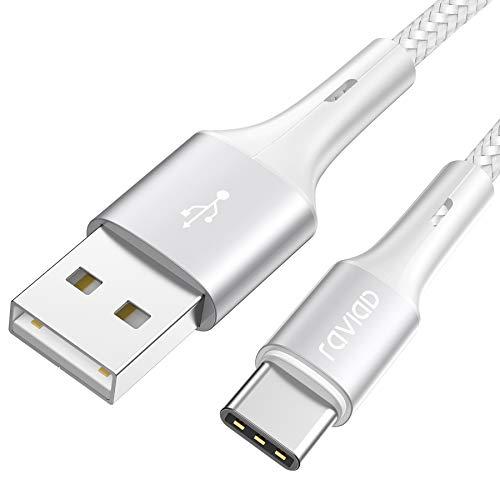Cable USB Tipo C, RAVIAD Cargador Tipo C Carga Rápida y Sincronización Cable USB C para Galaxy S20/S10/S9/S8/M51/M31/M21/Note 10/Note 9, Huawei P40/P30/P20/Mate 20, Redmi Note 9 Pro/9/8-2M, Plata
