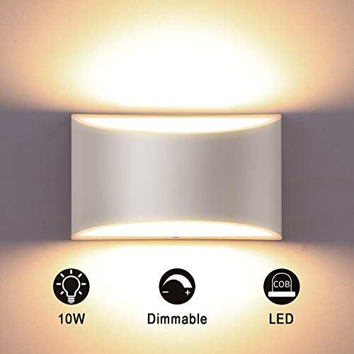 Glighone LED Wandleuchte Innen, 10W Weiß Aluminum Modern Dimmbar Wandlampe LED Licht Up Down Wandlicht Spotlicht für Badezimmer, Wohnzimmer, Schlafzimmer, Flur,Treppe -Warmweiß 3000K