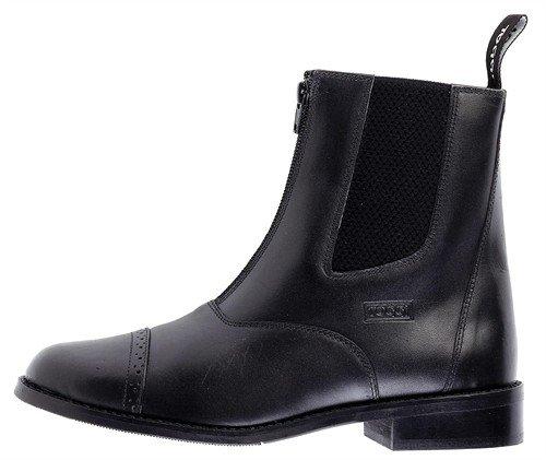 Toggi Augusta l'enfant Zip up-bottes d'équitation en cuir de couleur noir, Taille : 1