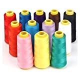 12 Bobinas Carretes Hilo 100% Poliéster 40/2, Hilos de Colores Variados, Bobinas de 1000 metros para Mercería Hogar Costura