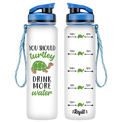 LEADO 32oz 1Liter Motivational Tracking Water Bottle with Time Marker - You Should Turtley Drink More Water, Turtle Gifts - Funny Valentines, Birthday Gifts for Women, Friend, Girlfriend, Mom, Sister