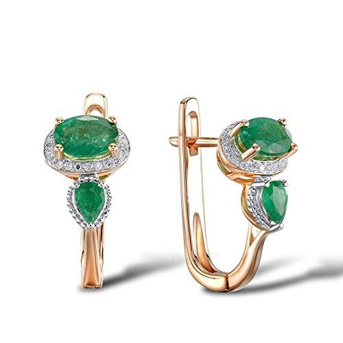DEYUOIJ Pendientes de Oro para Mujer 14K 585 Oro Rosa Glamoroso Elegante Brillante Esmeralda Diamante Brillante Joyería Moda Fina