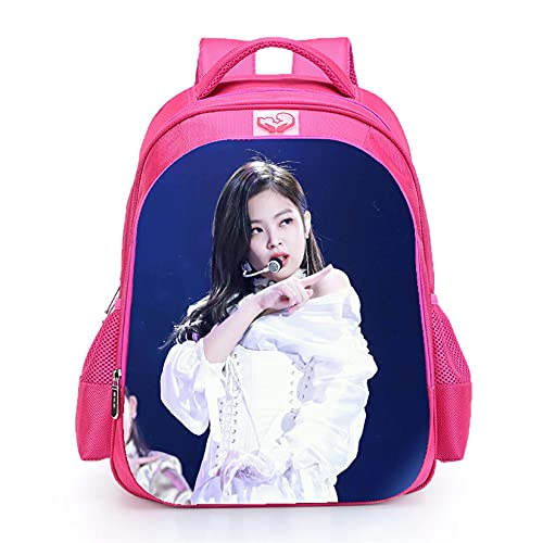 Mochila escolar Blackpink impermeable Jisoo Lisa Rose Jennie con imagen de color rosa para niñas y adolescentes (Blackpink9)