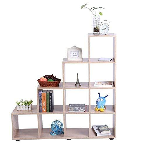 GOTOTOP Libreria Scaffale A Scala Mobile con Mensola in Legno,Scaffale Cubo per Libri CD Modelli Bianco,Scaffale Mensole Scaffalature di Stoccaggio (Quercia 10)