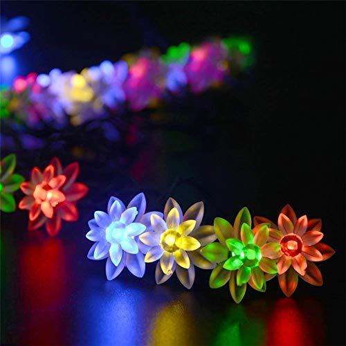 Solarstring-Leuchten Solarbetriebene Schnur beleuchtet im Freien 7M 50 LED Lotus Flower Festoon-Fee-Licht-dekorative Beleuchtung for Gartenzaun Schmuck (Emitting Color : RGB)