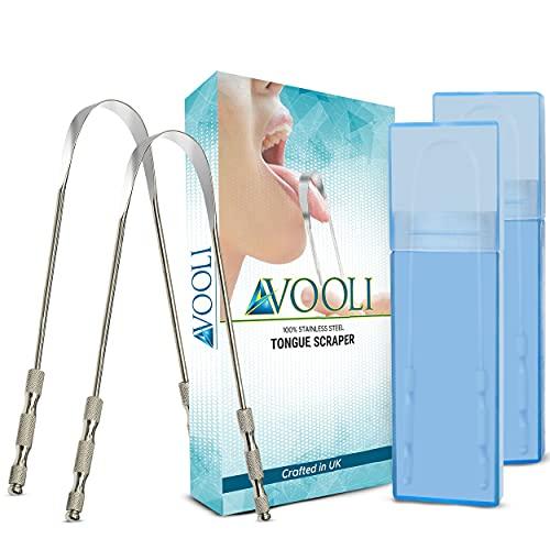 Avooli 2 PCS Tongue Scraper Zungenreiniger aus Edelstahl Zungenpflegetool - Beste Tongue Cleaner Metallschaber für Erwachsene Mundhygiene Zungenschaber