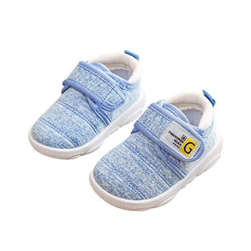 DEBAIJIA Scarpe per Bambini 3-18M Baby Walking Infantile Ragazzi Suola Morbida Materiale Tela Antiscivolo 18/19 EU Blu(Etichetta Taglia 18)