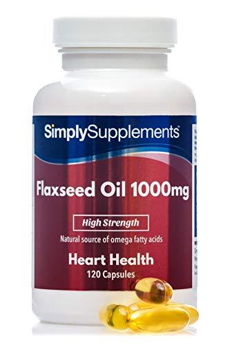 Olio di semi di lino 1000 mg - Fonte di omega 3 6 9-120 Capsule - Adatto ai vegani - SimplySupplements