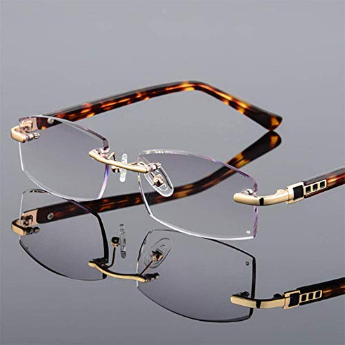 BBGSFDC Gafas de Lectura Recortadas/sin Marco Anti-BLU-Ray HD Anti-Fatiga de Moda Hombre de Lectura de Hombres de Metal Frame-Diopter + 1.0 ~ + 3.5 Gris Progresivo- + 3.0