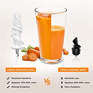 CalmDo Masticating Juicer, Slow Juicer Extractor with Ceramic Auger, Anti-drip Mouth, Quiet Motor, Ideal for Nutrient… |