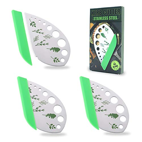 3 Pack Stainless Steel Herb Cutter Stripper, 9 Holes Kitchen Leaf Herb Stripper, 2 in 1 Design Herb Stripper Tool, Herb Leaf Stripping Tool Metal Herb Pealer Remover
