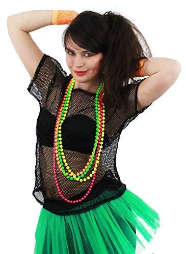 I LOVE FANCY DRESS LTD Disfraz DE Diva DE LOS AÑOS 80 Conjunto TEMATICO para Mujer con Camisa DE Red Negra Y 4 Collares DE Perlas Fiestas TEMATICAS O Festivales DE Musica (M)