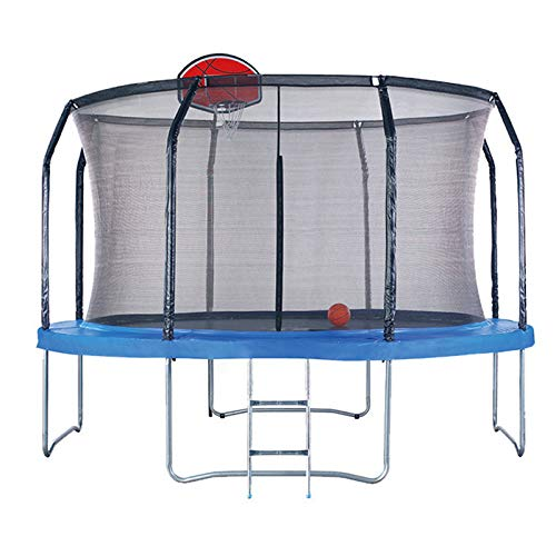 KOQIO 10FT-16FT Outdoor Gym Trampoline with Basketball Hoop, Garden Bouncer with Safety Enclosure Net for Play And Exercise Jumping Trampoline for Kids And Adult,12FT
