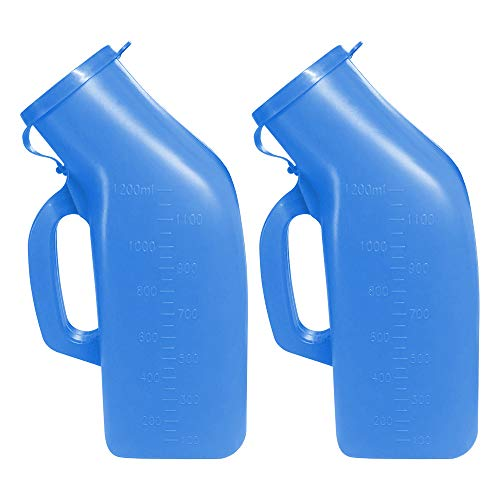 Urinals for Men Thick Firm Portable Urinal, Urine Collection for Hospital, Incontinence, Elderly, Travel Bottle and Emergency (Blue) 2 Packs-1200ml