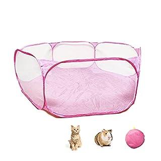 scheda macllar box per animali domestici pieghevole indoor outdoor, gabbia per box per animali porcellino d india, criceto, coniglio, ratto, maialino da corsa portatile (rosa)