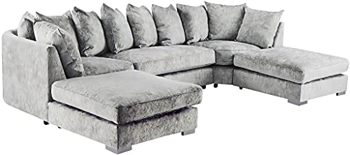 U Shaped Sofa Bed with Storage   Corner Sofa Bed   Silver Sectional Sofa Bed with Chenille Fabric   U shaped sofa bed for living room   Seater Sleeping Function