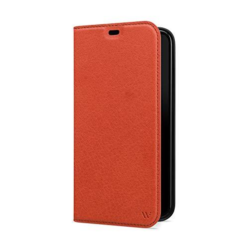 WIIUKA Hülle für iPhone 12 Mini, Lederhülle, Deutsches Premium Leder, mit Kartenfach, extra Dünn, Handyhülle mit Standfunktion, Tasche Cognac Braun