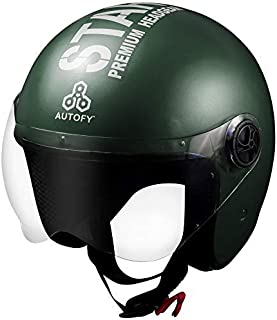 Autofy TROUPER Open Face Helmet (58cm - M, Green)