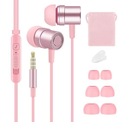 Tachio Cute Balanced - Auriculares para niños y niñas, livianos y pequeños, con micrófono y control de volumen para iPhone, iPad, iPod, teléfonos inteligentes Samsung (rosa)