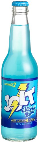"""Jolt ELECTRIC BLUE GLASS LONGNECKS -  """"Powerfully Blue Is Good For You"""", 12-Ounce Glass Bottle (Pack of 12)"""
