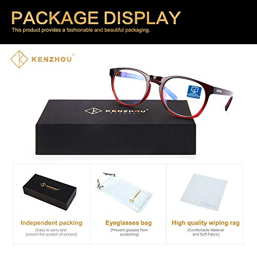 K Kenzhou Blue Light Blocking Reading Glasses Computer Glasses 2 Pack Anti Eye Eyestrain Unisex(Men/Women) Anti Blue Ray Glasses UV Protection …