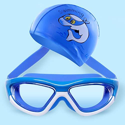 LFY Schwimmbrille für Kinder, wasserdicht transparent mit Badekappe (Farbe : Blau)