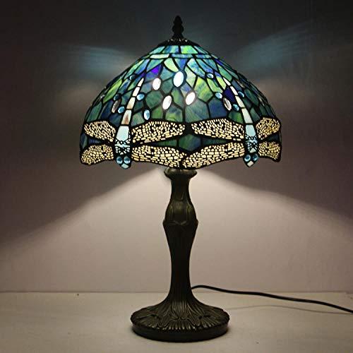 Tiffany Lampe Stehlampe Hochseeblau Glasmalerei Kristall Perle Libelle Lampenschirm E27 antike Beleuchtung Schlafzimmer Wohnzimmer