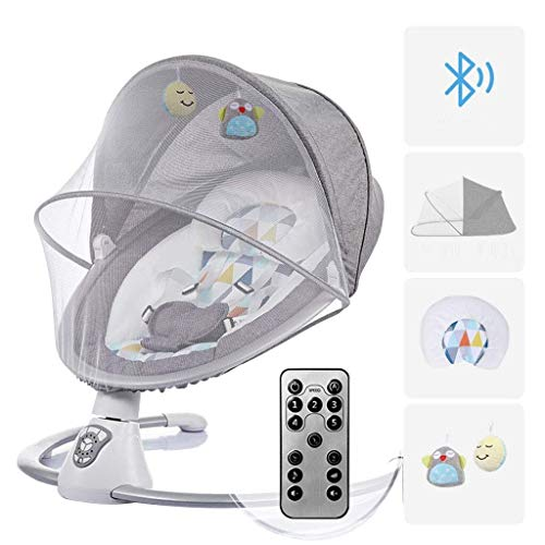 Affordable Baby Swing Chair, Baby Bouncer with Remote Control, Rotating Seat, Swing Amplitude and Ti...
